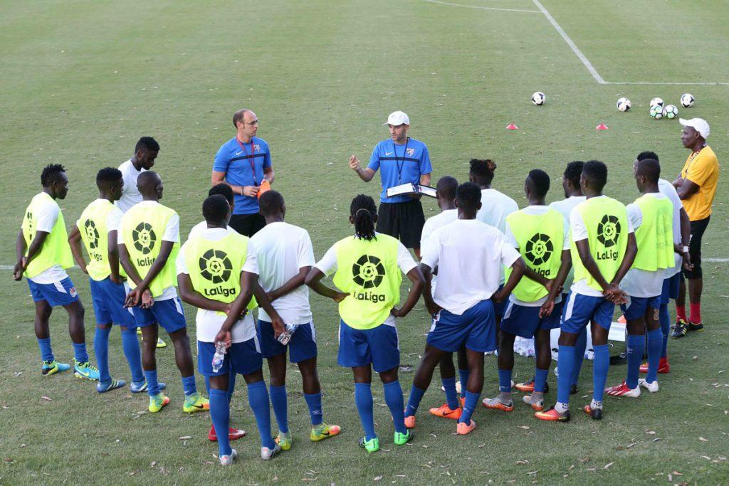 Mallaga-CF-coach-Diego-Vera-Idoate-(R)-trains-KPL-All-Stars-players- Kenia